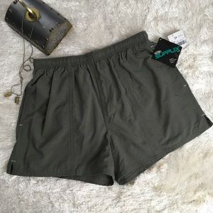 Vintage men's swim suit short swim trunks green M